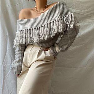 RUNAWAY off shoulder fringe knit• size L
